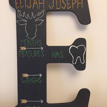 "Month by Month 18"" Wooden Chalkboard Letter - Perfect for Baby Milestones"