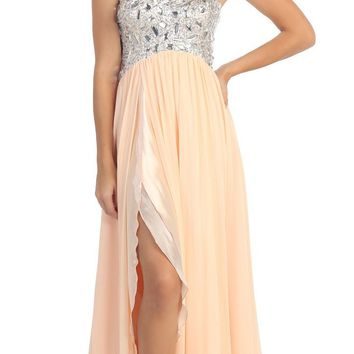 Layered Strapless Laced Bodice Long Peach Prom Dress