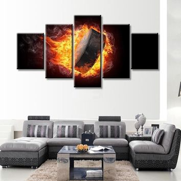 2017 JIE DO ART No Frame 5 Panels Modern Abstract Painting Style National Ice Hockey League Poster Printed on Canvas for Home Li