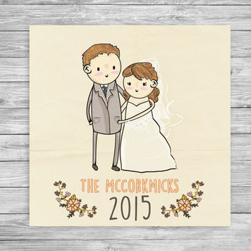 Personalized Wedding Drawing! Custom wedding portrait, couples art, custom couples art. Perfect for quirky, cute weddings --with flowers!