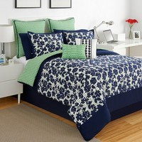 IZOD Augusta 4-pc. Reversible Comforter Set - Full (Blue)