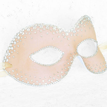 Nude Masquerade Mask With Rhinestone Embellishment -  Luxury Venetian Mask With Crystal Stones For Prom