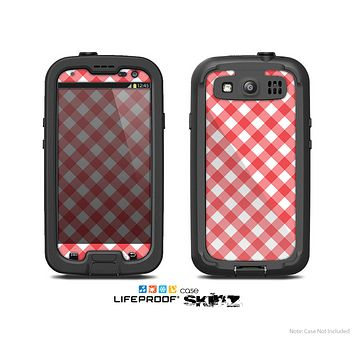 The Red & White Plaid Skin For The Samsung Galaxy S3 LifeProof Case