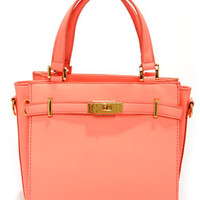 Bright and Early Neon Coral Purse