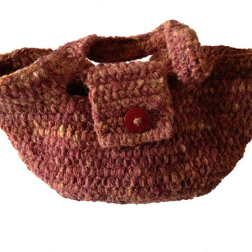 Crochet Handbag made with Handspun Texel Yarn, Hand dyed with Maroon, variegated colours, chunky handbag, stylish, large red button