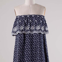 Navy Floral Ruffle Bandeau Top
