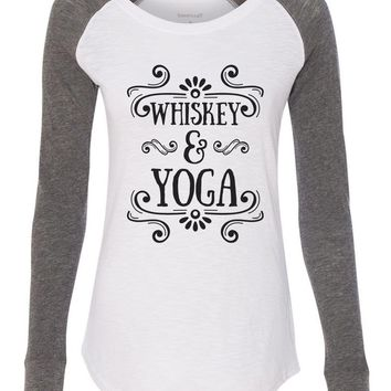 "Womens ""Whiskey & Yoga"" Long Sleeve Elbow Patch Contrast Shirt"