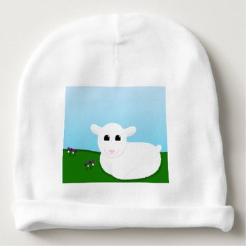 Sweet Smiling Lamb Drawing Baby Beanie