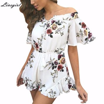 Elegant Casual Off Shoulder Ruffles Print Women Romper Jumpsuit 2017 Summer Beach Short Playsuit Chiffon Overalls