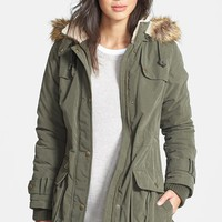 Women's DKNY Faux Fur Trim Anorak