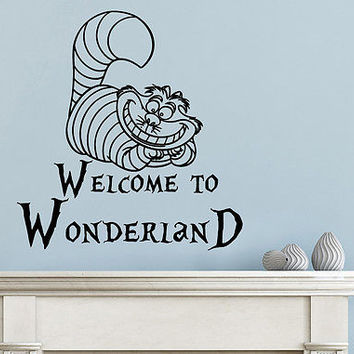 Wonderland Wall Decals Cheshire Cat Wall Decal Bedroom Alice Nursery Decor DS432