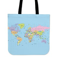 Geography Globe Linen Tote