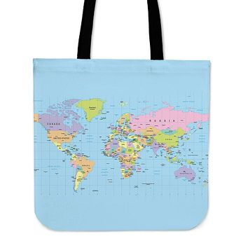 Geography Globe Linen Tote Bag - Promo