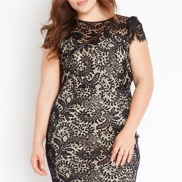 Eyelash Lace Dress Plus Size