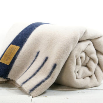 Pendleton Wool Blanket - Grey with Blue Stripe 3 Point Twin