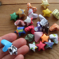 Grab Bag of Origami Hearts and Stars, set of 24.  Party Favor, Sample Bag, Assorted Paper Designs, Party Supplies, Bargain Priced.