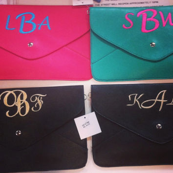 Custom Monogrammed Envelope Clutches by TheInitialedLife on Etsy