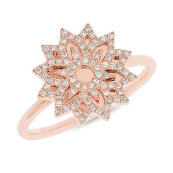 0.19ct 14k Rose Gold Diamond Snowflake Lady's Ring