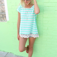 Northampton Jade Striped Short Sleeve Crochet Hem Top