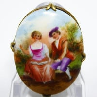 Victorian Oval Garden Scene Pin - Courting Couple, Porcelain or Bisque in Gold Tone Setting - Antique Signed Made in Czechoslovakia Vintage