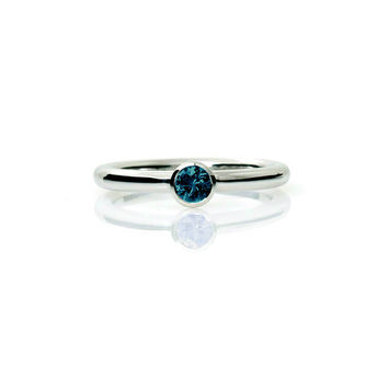 Teal diamond bezel engagement ring, white gold, simple engagement ring, unique, blue diamond ring, diamond solitaire, teal engagement