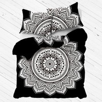 mandala black and white duvet cover with matching pillow case donna cover set