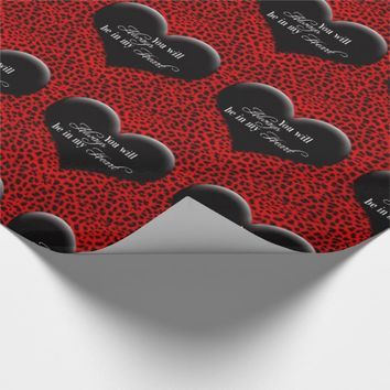 Red and Black Animal Print with Lover's Heart Wrapping Paper