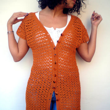 Orange Lace Tunic Cardigan Trendy Hand Crocheted Woman Sweater Tunic Cardigan NEW