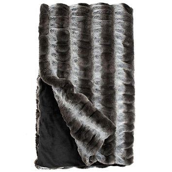 Grey Chinchilla Couture Faux Fur Throw Blanket