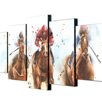 Modern 5 Pieces Horses Running Watercolor Painting