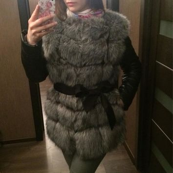 High Quality Silver Fox Winter Coat