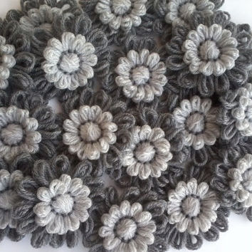 10Light/Dark Gray,Grey  Crochet Knitted Decoration Applique For Hairbands Flowers Daisies Scarves, Home Decor, Bags Supplies Wholesale