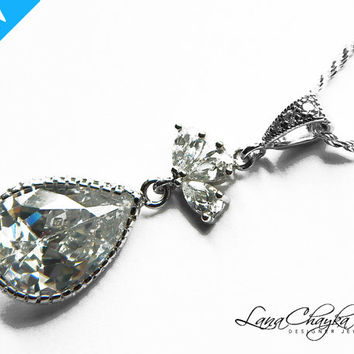 Wedding Bridal Necklace Pendant 925 Sterling Silver Diamond Cut Chain Cubic Zirconia Pear Teardrop FREE US Shipping