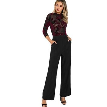 Women Jumpsuits Party Multicolor Three Quarter Length Sleeve High Waist Flock Mesh Bodice