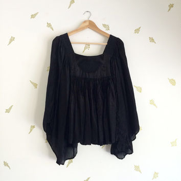 vintage 70s black embroidered top / angel sleeves / woven trim / gauze / boho hippie blouse / gothic
