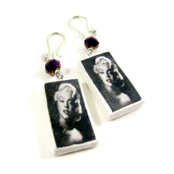 Marilyn Monroe Earrings Purple beaded photo by PhotoPerfectJewelry