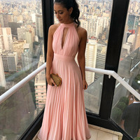 Simple Pink Halter Chiffon Prom Dress,2019 Evening Gowns,Floor Length Pink Party Dresses F8772
