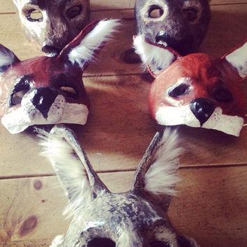 Animal mask/ Paper mache animal mask/ Commission/ Papier mache animal mask/ masquerade