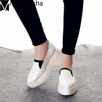 2018 Spring Women Flats PU Leather Shoes Woman Espadrilles Slip On Platform Loafers Woman Creepers Casual Shoes Size 35~40