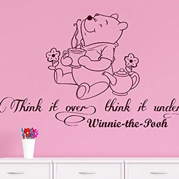 Wall Decals Quotes Vinyl Sticker Decal Quote Winnie the Pooh Think it over, think it under Nursery Baby Room Kids Boys Girls Home Decor Bedroom Art Design Interior C34