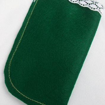 Green Felt Glasses Case with White Crochet Flower and Lace Trim, Sunglasses Pouch