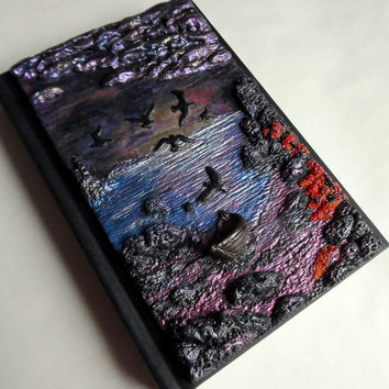 SALE !!! Polymer clay hardcover notebook notes sketchbook or diary with sunset landscape a6 100 white sheets