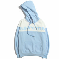 Supreme 2018 new tide brand men and women couple models loose hooded hoodie sweater Blue
