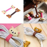 Wire Organizer  Kawaii Animals Cable Chick Headphone Winder Earbud Silicone Cord Wrap  Earphone Cord Stationery Holder 4PCS
