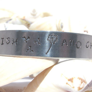 Make A Wish And Chase It Dandelion1/2 Inch Wide Hand Stamped Cuff Bracelet Silver Toned (1/2330a)