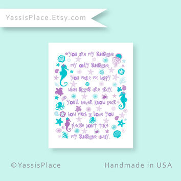 Girl Purple art, You Are My Sunshine, Seahorse Nursery Art in Purple and Teal ocean decor shells marine animals starfish coral 11x14 004