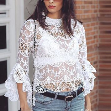 Ruffle Lace Crop Tops Blouse Women Sexy Hollow out See Through Mesh Blouse Flare Long Sleeve Shirt Blusa