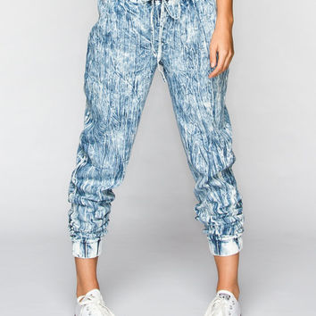 Almost Famous Crave Fame Womens Chambray Jogger Pants Acid Wash  In Sizes