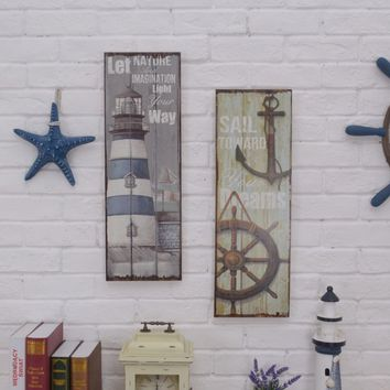 1 Piece 20*1.5*58cm Nautical Lighthouse Wood Picture Shabby&Chic Wall Hangings Home Bar Decoration