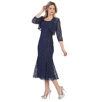 Navy-Blue Tea-Length Semi-Formal Dress with Lace Bolero Jacket